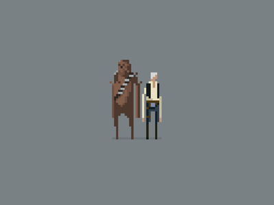 """Chewie, we're home."" star wars pixel art han solo chewbacca chewie episode 7"