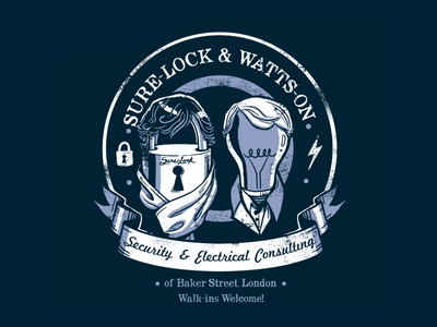 Sure-Lock and Watts-On Consulting redbubble tshirt humor pun watson sherlock