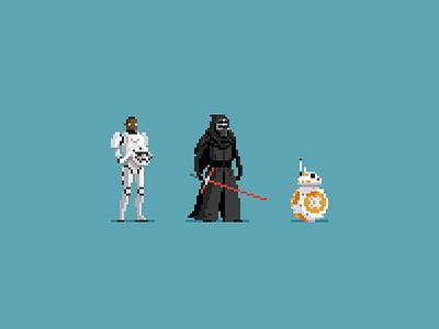 The Force Awakens pixel art finn bb8 kylo ren the force awakens pixel art star wars force awakens