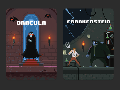 Puffin Pixels covers - Dracula and Frankenstein