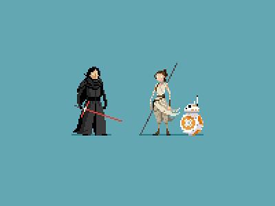 Rey and Ben pixel art rey kylo ren the force awakens star wars