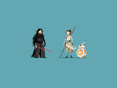 Rey and Ben pixel art rey kylo ren the force awakens star wars