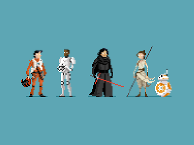 The Force Awakens (new cast) rey bb-8 kylo ren finn poe the force awakens star wars starwars pixel pixel art