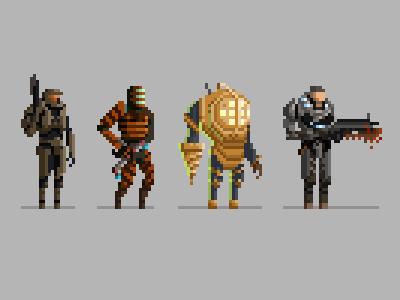 Pixel Video Game Characters pixel art dead space halo gears of war bioshock nerd geek gamer