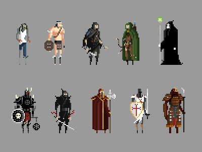 High Score Society - Character Levels pixel art high score society xp zombie thief mage templar ninja barbarian