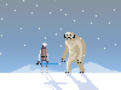 Luke Vs. Wampa pixel art pixel art star wars luke wampa game nerd geek drawsgood