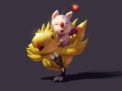 Final Fantasy fan art final fantasy chocobo moogle