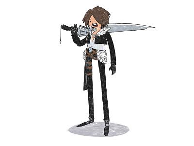 "Squall ""Legs"" Leonhart procreate ipad illustration final fantasy rpg fan art videogames fanart"
