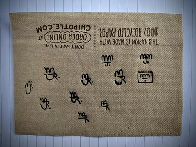 Personal Brand Logo Mark Exploration on a Chipotle napkin design logo