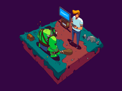 FIGHT!!! design art isometric design isometric video games illustration