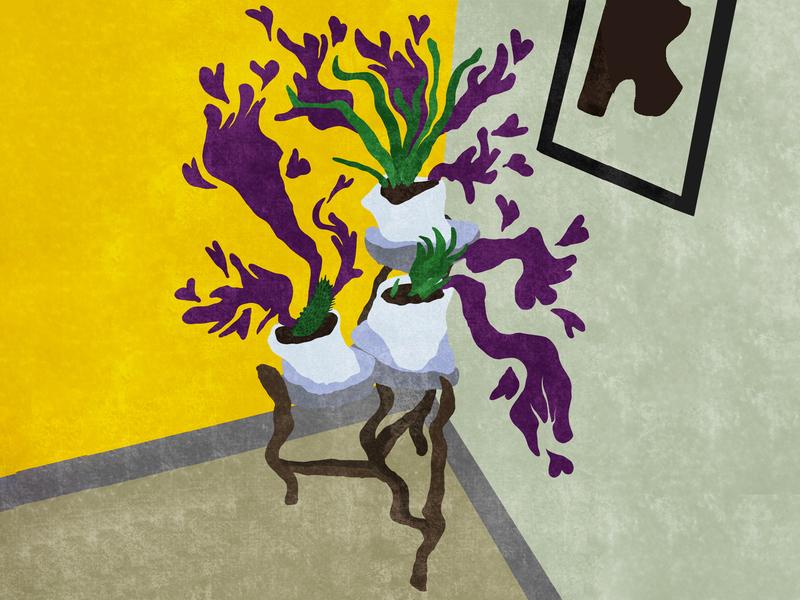 Loving cacti illustration planting planter procreate plant illustration painting drawing twirly twirl modern abstract plant lady plants plant cactus cacti
