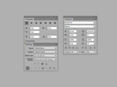 A rough sketch of desired OpenType UI