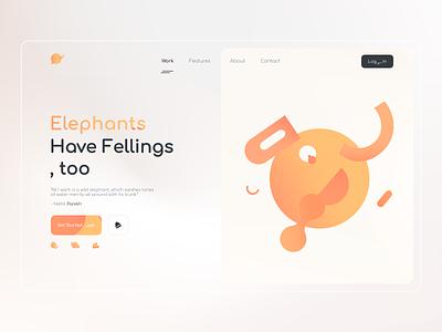 Elephant - Landing Page website site qclay animal elephant ux typography vector illustration branding app logo graphic design design ui landing