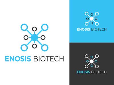 Enosis Biotech Logo app design biotech minimalist logo typography dribbble icon vector illustration design branding logo hospital app hospitals doctor medicine medical