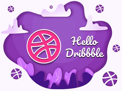 Hello dribbble purple blue dibbble ball app typography ui icon vector logo dribbble illustration design