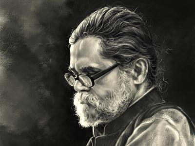 Portrait illustration design art shadows light concept cg value black  white painting portrait illustration cg art
