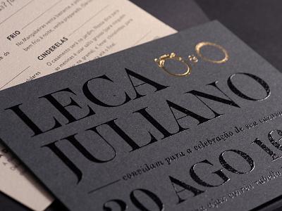 Leca & Juliano print stationary foil gold black printing screen invitation invite wedding