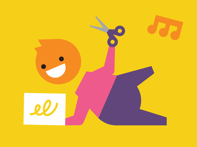 Kid geometric illustration drawing toddler music scissor playing child kid