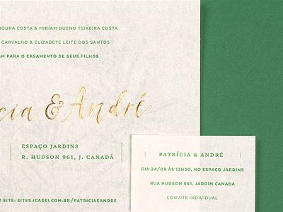 Patrícia & André wedding invitation print hotstamp hotstamping hot gold foil card invite invitation wedding