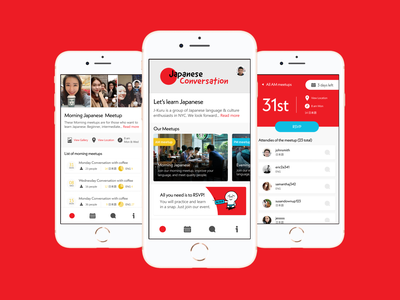 Meetup App app branding design typography design ui ux iconography illustration visual identity branding mobile app mobile ui