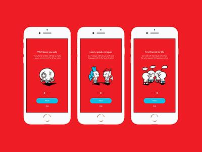 Meetup App - Onboarding intro screens visual design visual identity ux ui typography mobile ui mobile app illustrtion iconography design branding design branding app