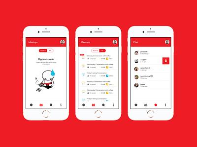 Meetup app - Meetups ad Chat visual design visual identity ux ui typogaphy mobile ui mobile app illustration iconography design branding design branding app