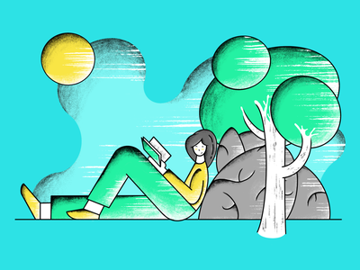 Reading a book in a park drawing draw sun tree rock book design art nature park procreate illustration human
