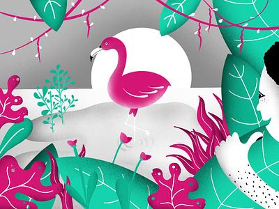 Beautiful Flamingo and a jungle man hiding man procreate drawing illustrations art design drawn human jungle lake nature bushes flamingo illustration