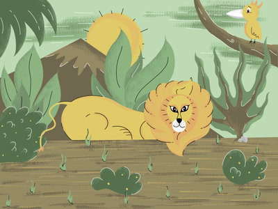 Lion the king of the jungle procreate drawing drawn scenery sun mountin trees bush parrot king jungle lion illustration art design