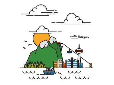 Cityscape flat sky watter ship city mountain cityscape vector design art illustration
