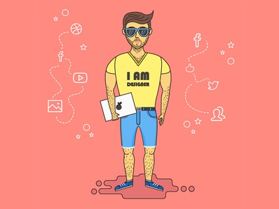 Self Portrait guy flat designers designer design vector illustration art