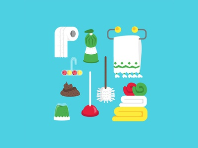 Cleaning time cleaning clean towel toilet paper poop bathroom flat design illustration art