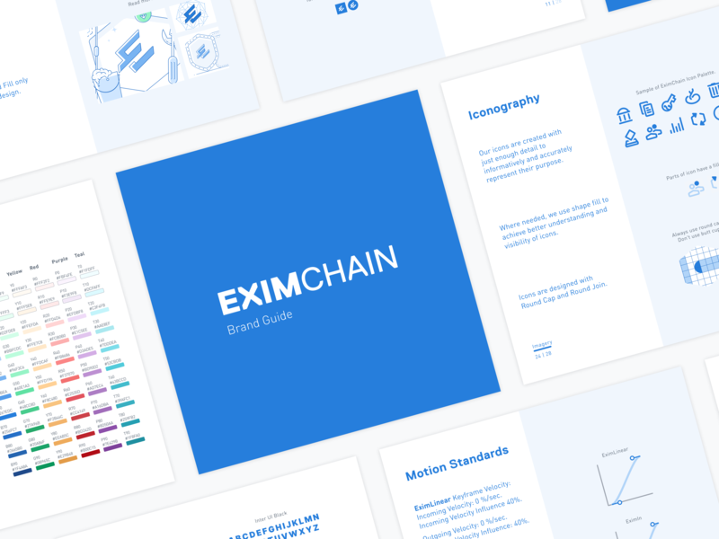 EXIMCHAIN Brand guideline brand vector typography standards motion standards logo illustraion icon designconcept design color brand guideline branding art