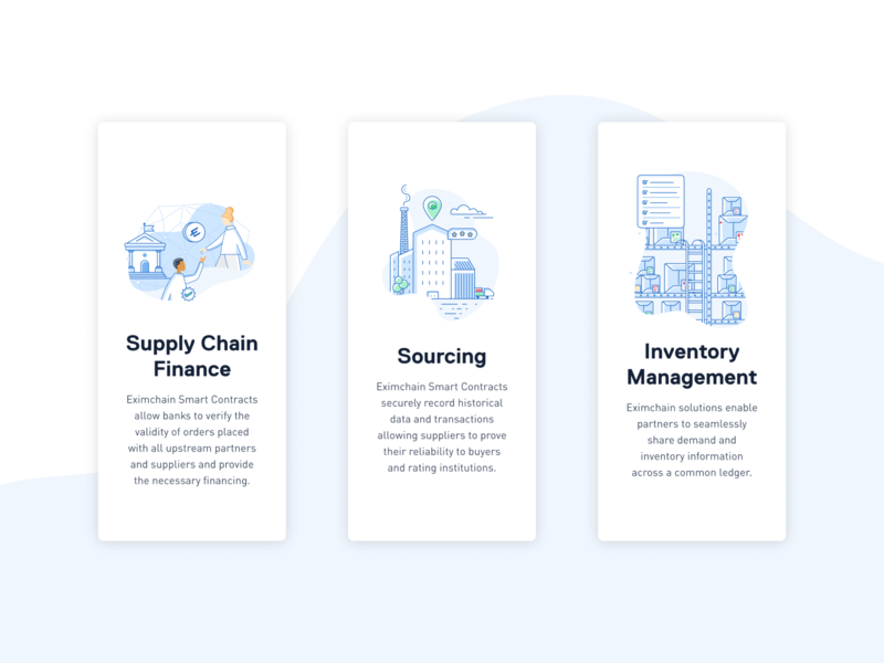 Eximchain Illustrations set - Use Case branding design web ui ux typography branding vector design art illustration