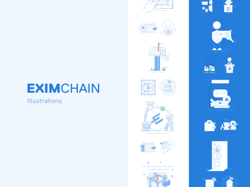 Eximchain App Illustration Set mobile app mobile app design branding design branding art design vector app ux ui illustration