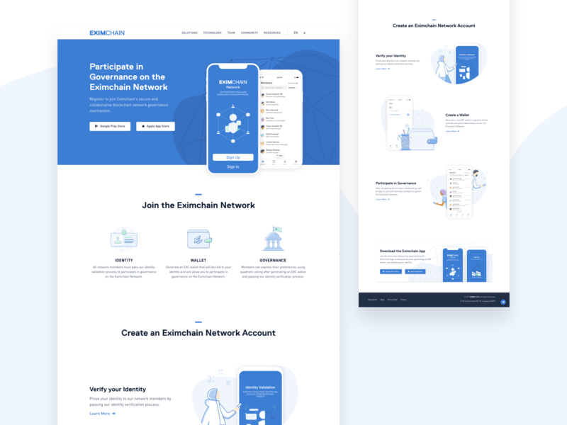 Eximchain App page visual design branding design illustration vector website app web ux ui typography branding design art