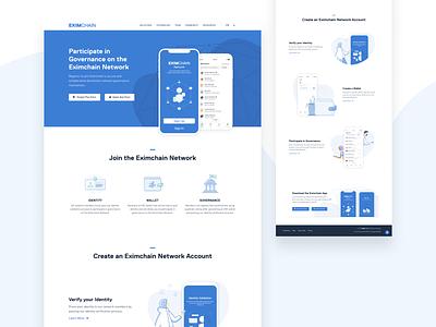 Eximchain App page visual design branding design illustration vector website app web ux ui typography branding design art