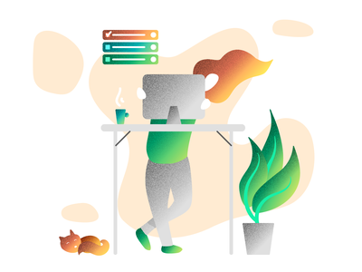 Your Most Productive Self marked cat plant working standing manage tasks flat web vector illustration design art productive