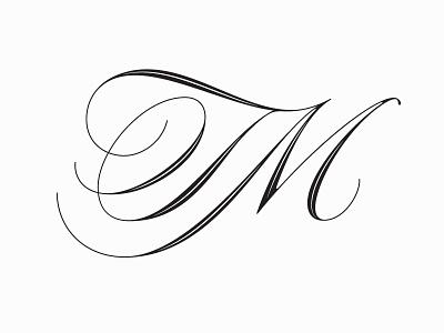 TM monogram monogram script copperplate type calligraphy lettering