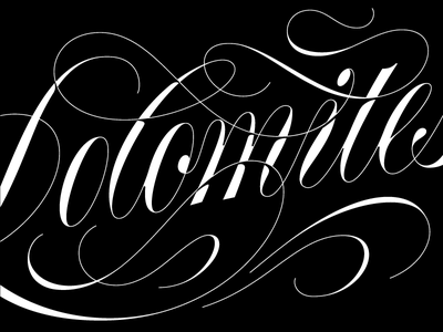 Dolomites script copperplate type calligraphy lettering