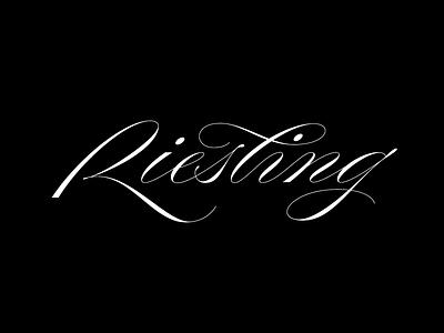 Riesling riesling wine copperplate calligraphy scriptlettering script elegant wine lettering lettering