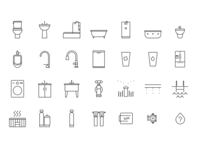 Water Fixture Icons laundry outside kitchen bathroom fixture water iot smart home iconography icons