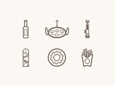 Things I love icons vector illustration beer pixar toy story lightsaber star wars hoverboard donuts fries food