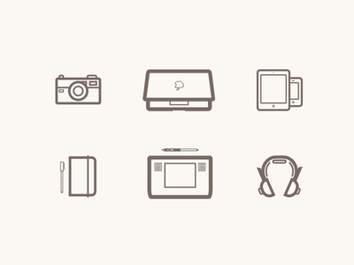 My gear icons vector illustration macbook apple tablet camera iphone ipad headset notebook pen