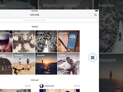 Explore - Instagram iPad app instagram ipad app hashtag photo trends explore ui ux
