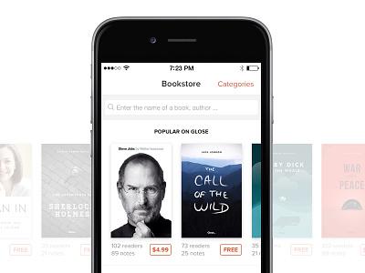 Glose Bookstore glose ui book store app ios8 read iphone 6