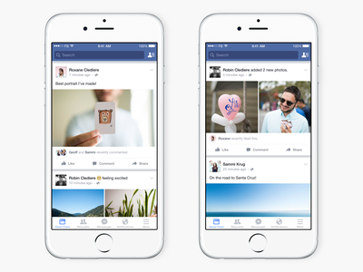 Recent Activity on News Feed news feed animation ios comment like friends activity facebook ui