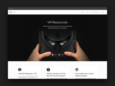 VR Resources collection web website reality virtual vr videos articles resources facebook design