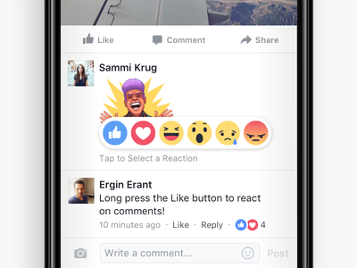 Comment Reactions ui angry sad wow haha love like emojis comments reactions facebook