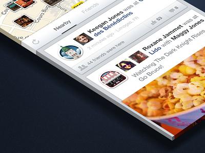Facebook + Gowalla facebook gowalla places checkin redesign illustration ui app iphone